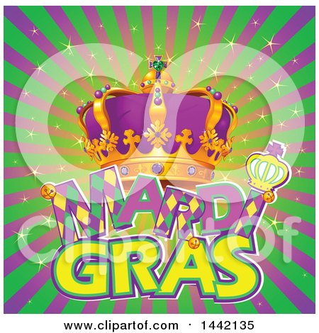 Clipart of a Crown, Wand and Mardi Gras Text over Rays - Royalty Free Vector Illustration by Pushkin