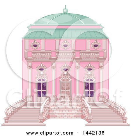 Clipart of a Pink Palace Exterior - Royalty Free Vector Illustration by Pushkin