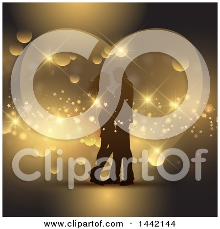 Clipart of a Silhouetted Valentines Day Couple Embracing over Golden Flares and a Heart - Royalty Free Vector Illustration by KJ Pargeter
