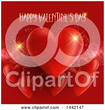 Clipart of a Gold Happy Valentines Day Greeting over Red Hearts and Sparkles - Royalty Free Vector Illustration by KJ Pargeter