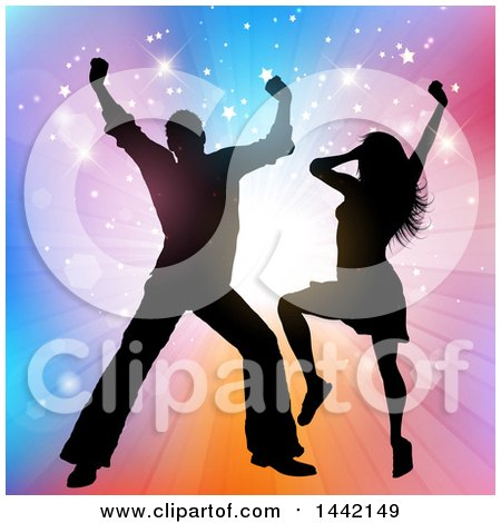 Clipart of a Silhouetted Couple Dancing over a Colorful Burst with Stars - Royalty Free Vector Illustration by KJ Pargeter