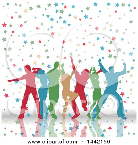 Clipart of a Group of Colorful Silhouetted People Dancing in Stars - Royalty Free Vector Illustration by KJ Pargeter