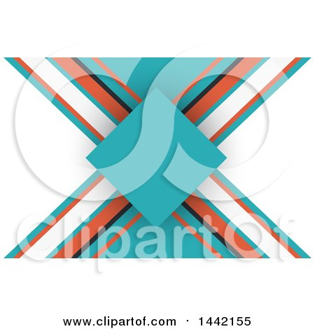 Clipart of a White, Orange, Black and Turquoise Business Card or Background Design - Royalty Free Vector Illustration by KJ Pargeter