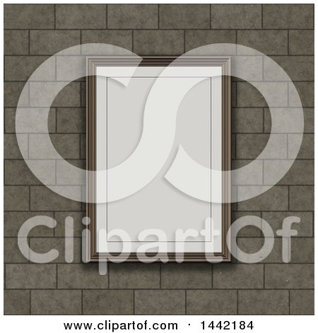 Clipart of a 3d Blank Picture Rame on a Brick Wall - Royalty Free Illustration by KJ Pargeter