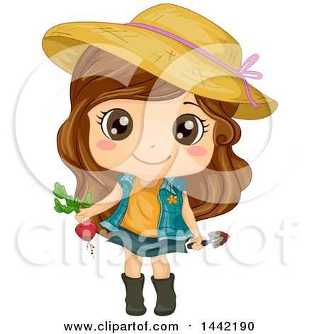 Clipart of a Cartoon Brunette Caucasian Girl Wearing a Sun Hat and Harvesting a Beet - Royalty Free Vector Illustration by BNP Design Studio