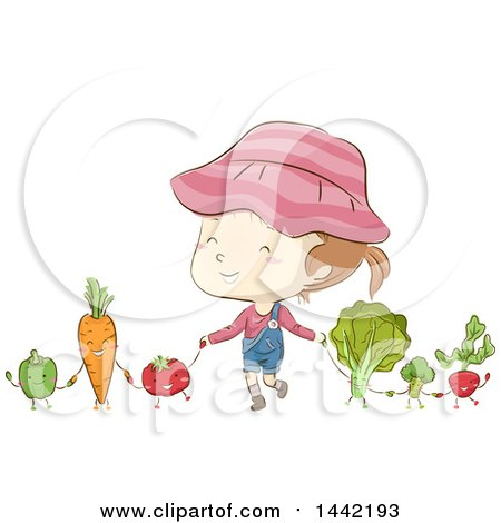 Clipart of a Sketched Caucasian Girl Holding Hands with Vegetables - Royalty Free Vector Illustration by BNP Design Studio