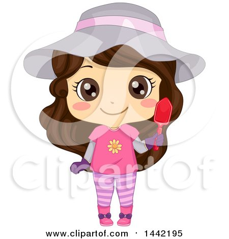 Clipart of a Brunette Caucasian Girl in a Cute Outfit, Holding a Garden Trowel - Royalty Free Vector Illustration by BNP Design Studio