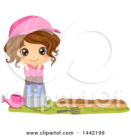 Clipart of a Cartoon Brunette Girl Sitting on a Pail by a Garden Bed - Royalty Free Vector Illustration by BNP Design Studio