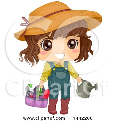 Clipart of a Brunette Caucasian Girl with Gardening Tools - Royalty Free Vector Illustration by BNP Design Studio