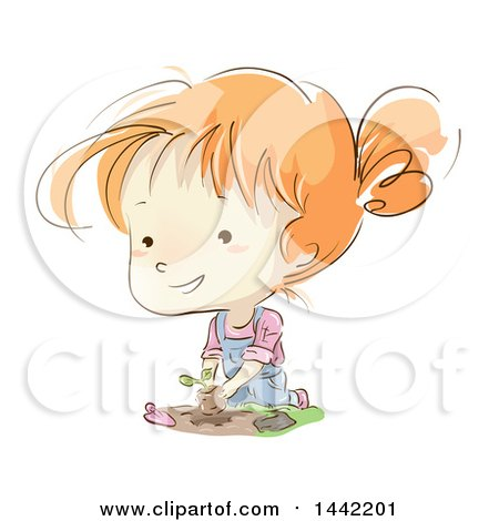 Clipart of a Sketched Red Haired Caucasian Girl Planting a Seedling in a Garden - Royalty Free Vector Illustration by BNP Design Studio