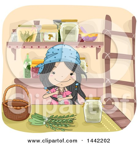 Clipart of a Sketched Witch Girl Making an Herbal Potion - Royalty Free Vector Illustration by BNP Design Studio