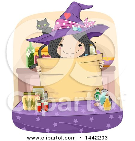 Clipart of a Sketched Witch Girl Holding a Wood Sign over a Table of Potions - Royalty Free Vector Illustration by BNP Design Studio