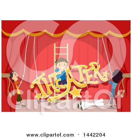 Clipart of a Group of Boys Setting up Stage Decorations for a Play - Royalty Free Vector Illustration by BNP Design Studio