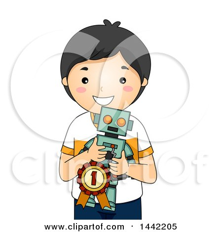 Clipart of a Cartoon Proud Asian School Boy Holding a Winning Robot Invention - Royalty Free Vector Illustration by BNP Design Studio