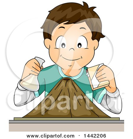 Clipart of a Cartoon Brunette Caucasian School Boy Simulating a Volcanic Explosion - Royalty Free Vector Illustration by BNP Design Studio