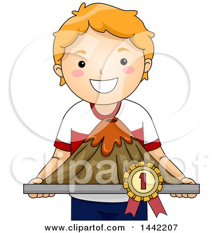 Clipart of a Proud Red Haired Caucasian School Boy Holding a Winning Volcano Model - Royalty Free Vector Illustration by BNP Design Studio