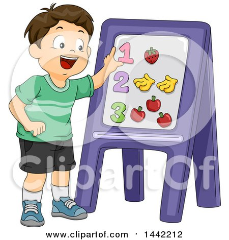 Clipart of a Cartoon Brunette Caucasian Schhool Boy Learning How to Count with Magnets on a Board - Royalty Free Vector Illustration by BNP Design Studio