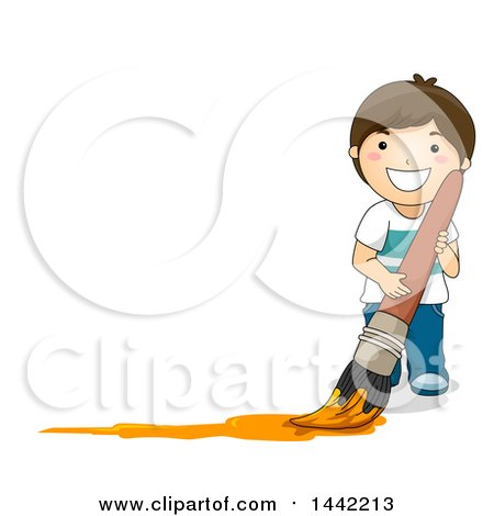 Clipart of a Cartoon Brunette Caucasian Boy Painting in Orange with a Giant Paintbrush, with Text Space to the Left - Royalty Free Vector Illustration by BNP Design Studio