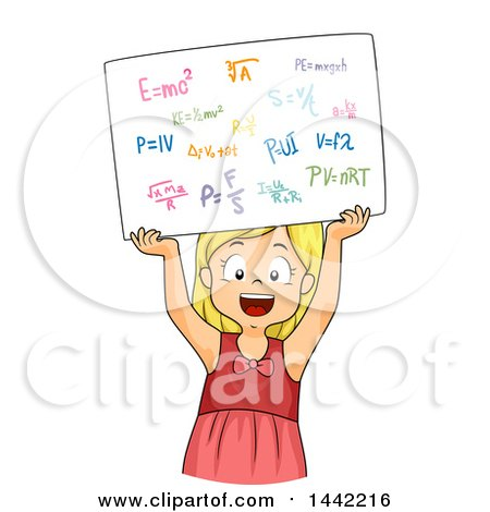 Clipart of a Cartoon Blond Caucasian School Girl Holding up a Board with Physics Formulas - Royalty Free Vector Illustration by BNP Design Studio