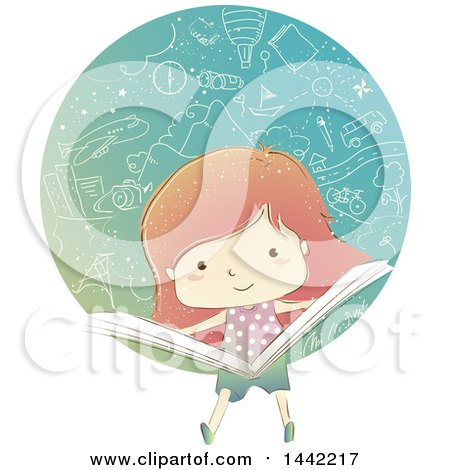 Clipart of a Sketched Red Haired Caucasian Girl Reading a Book with Doodled Things - Royalty Free Vector Illustration by BNP Design Studio