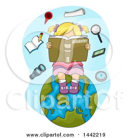 Clipart of a Cartoon Blond Caucasian Girl Reading a Geography Book on Planet Earth, with Floating Items - Royalty Free Vector Illustration by BNP Design Studio
