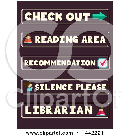 Clipart of Labels of Library Phrases and Words - Royalty Free Vector Illustration by BNP Design Studio