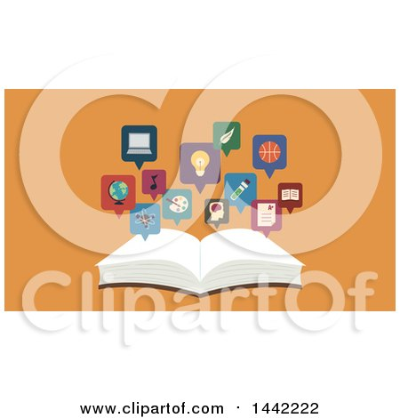 Clipart of a Flat Style Open Book with Topic Icons over Orange - Royalty Free Vector Illustration by BNP Design Studio