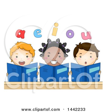 Clipart of a Group of School Children Holding Books and Reading Vowels out Loud - Royalty Free Vector Illustration by BNP Design Studio