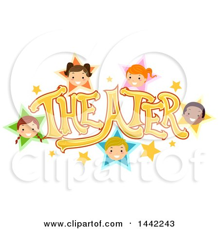 Clipart of a Group of Children in Stars Around the Word Theater - Royalty Free Vector Illustration by BNP Design Studio