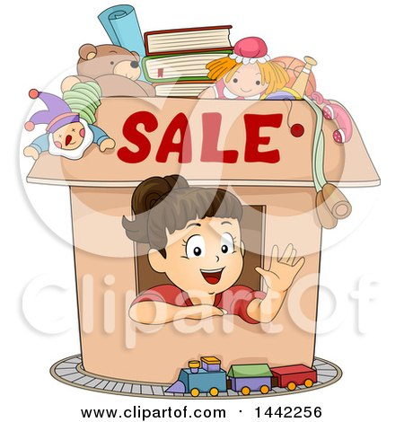 Clipart of a Brunette Caucasian Girl Waving from Inside a Box with Sale Text and Items Available - Royalty Free Vector Illustration by BNP Design Studio