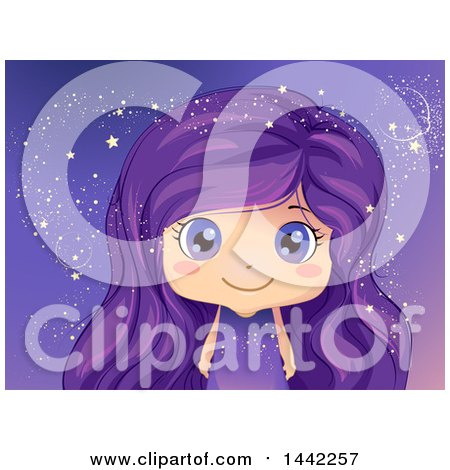 Clipart of a Caucasian Girl with Purple Eyes and Hair, Surrounded by Magical Stars - Royalty Free Vector Illustration by BNP Design Studio
