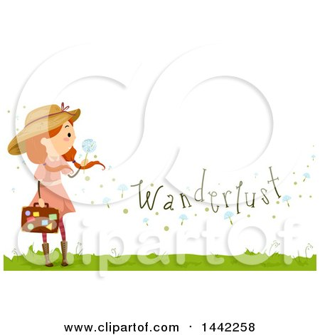 Clipart of a Red Haired Caucasian Girl Holding a Dandelion Seedhead and Suitcase with Wanderlust Text - Royalty Free Vector Illustration by BNP Design Studio
