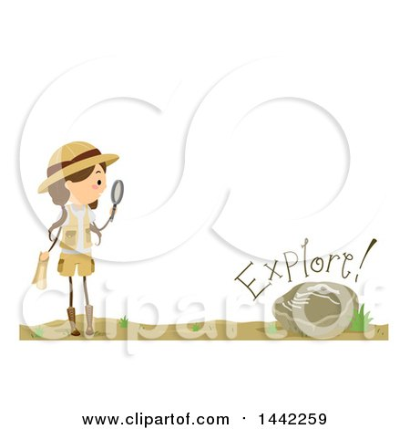 Clipart of a Brunette Caucasian Girl Holding a Magnifying Glass by a Fossil, with Explore Text - Royalty Free Vector Illustration by BNP Design Studio