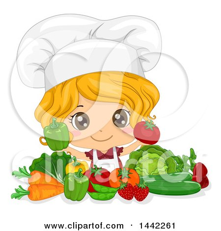 Cartoon Caucasian Girl Chef Holding up a Tomato and Bell Pepper over Vegetables Posters, Art Prints