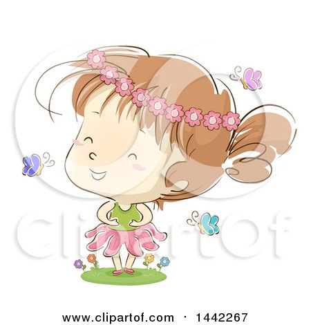 Clipart of a Sketched Caucasian Girl Wearing a Flower Crown and Playing in a Garden - Royalty Free Vector Illustration by BNP Design Studio