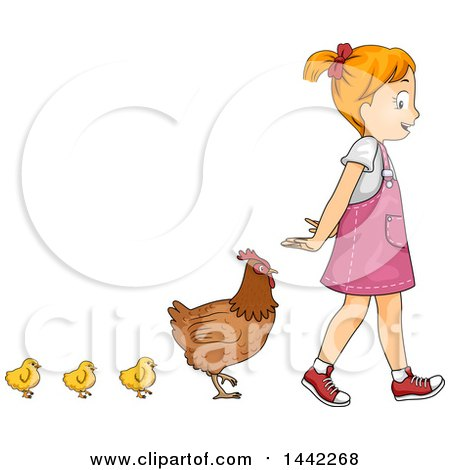 Clipart of a Red Haired Caucasian Girl Walking with a Row of Chicks and a Hen Behind Her - Royalty Free Vector Illustration by BNP Design Studio