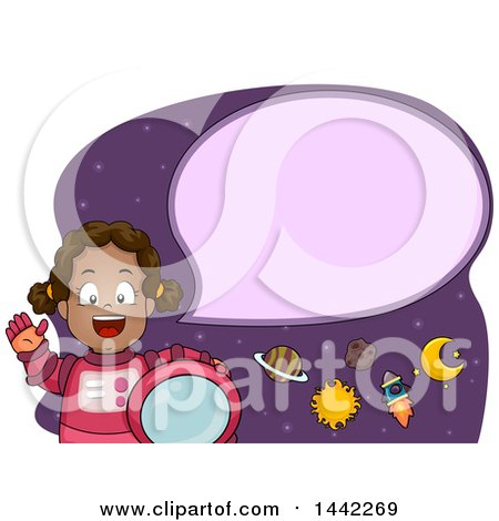Clipart of a Cartoon Happy Talking Black Astronaut Girl - Royalty Free Vector Illustration by BNP Design Studio