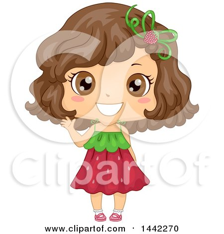 Clipart of a Happy Waving Brunette Caucasian Girl in a Strawberry Dress - Royalty Free Vector Illustration by BNP Design Studio