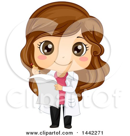 Clipart of a Cartoon Brunette Caucasian Girl in a White Science Lab Coat, Taking Notes - Royalty Free Vector Illustration by BNP Design Studio