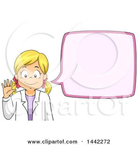 Clipart of a Cartoon Blond Caucasian Scientist Girl Waving and Talking - Royalty Free Vector Illustration by BNP Design Studio