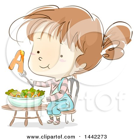 Clipart Of A Sketched Caucasian Girl With Vitamin A From a Salad - Royalty Free Vector Illustration by BNP Design Studio
