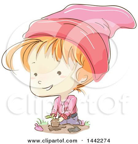 Clipart Of A Sketched Gnome Girl Gardening - Royalty Free Vector Illustration by BNP Design Studio