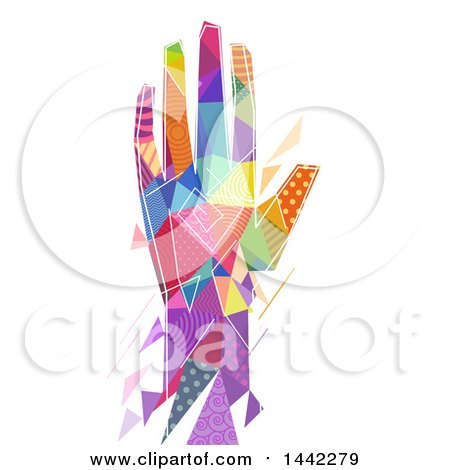 Clipart of a Colorful Patterned Geometric Hand on a White Background - Royalty Free Vector Illustration by BNP Design Studio