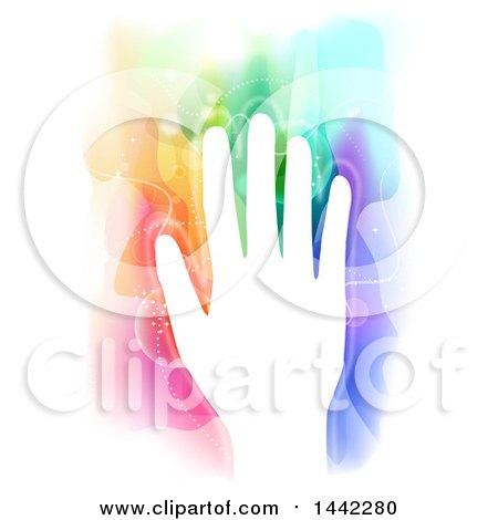 Clipart of a White Silhouetted Hand with Colorful Magical Energy - Royalty Free Vector Illustration by BNP Design Studio