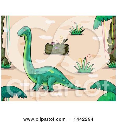 Clipart of a Brontosaurus Dinosaur in a Prehistoric Landscape - Royalty Free Vector Illustration by BNP Design Studio