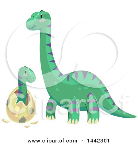 Clipart of a Brontosaurus Dinosaur Watching a Baby Hatch - Royalty Free Vector Illustration by BNP Design Studio