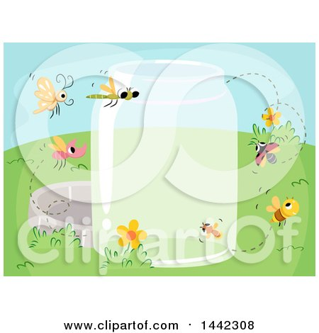 Clipart of a Glass Jar with Flying Insects - Royalty Free Vector Illustration by BNP Design Studio