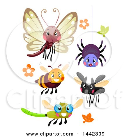 Clipart of a Happy Butterfly, Spider, Bee, and Dragonflies - Royalty Free Vector Illustration by BNP Design Studio