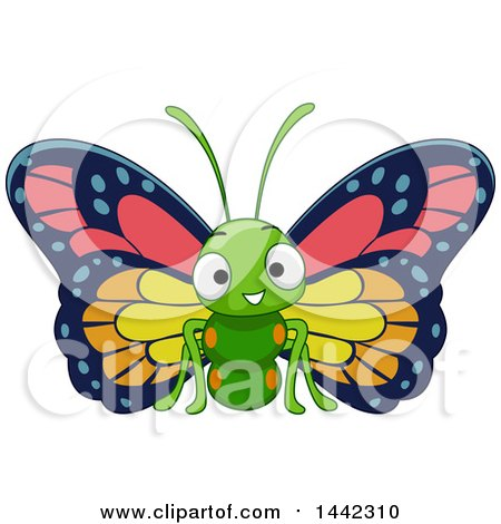 Clipart of a Cartoon Happy Butterfly - Royalty Free Vector Illustration by BNP Design Studio