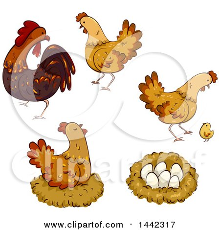 Clipart of Hen Chickens, a Rooster, Nest, Chick and Eggs - Royalty Free Vector Illustration by BNP Design Studio